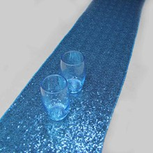 10 Pieces Luxury Light Blue Sequin Table Runner Wedding Party Table  Decoration Solid Color Table