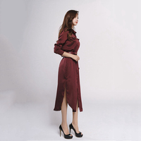 Fashion New Autumn Ladies Long shirtdress Women Long Sleeve Button Split ends Dresses Female Belt Wine red Silk satin Dresses