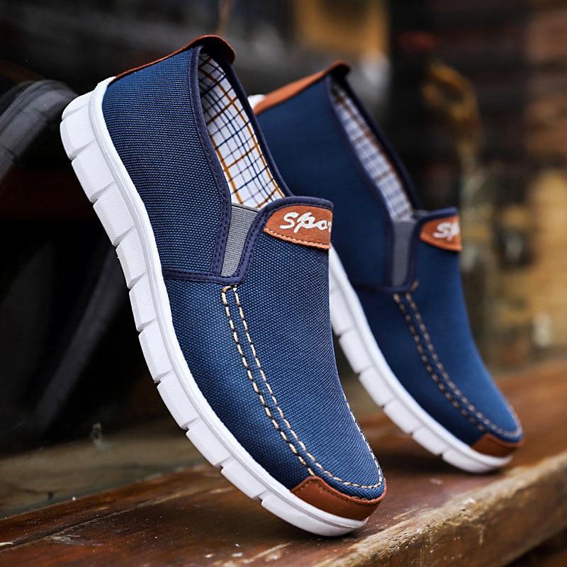 2018 Neue Frühling Sommer Leinwand Schuhe Männer Turnschuhe Low Top Blau Schuhe Männer Casual Schuhe Männlich Marke Mode Turnschuhe