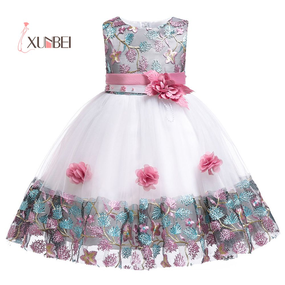 3-10Y Colorful Knee Length Flower Girl Dresses 2019 Tulle Pageant Dresses For Girls First Communion Dresses Kids Party Dresses