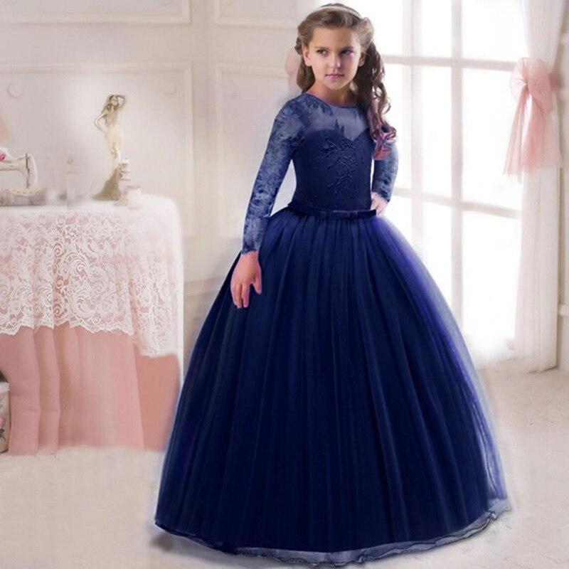 Кружевное платье с длинными рукавами для девочек, держащих букет невесты на свадьбе, на день рождения, банкет Элегантное Длинное белое кружевное платье с бабочкой для девочек - Цвет: wine blue
