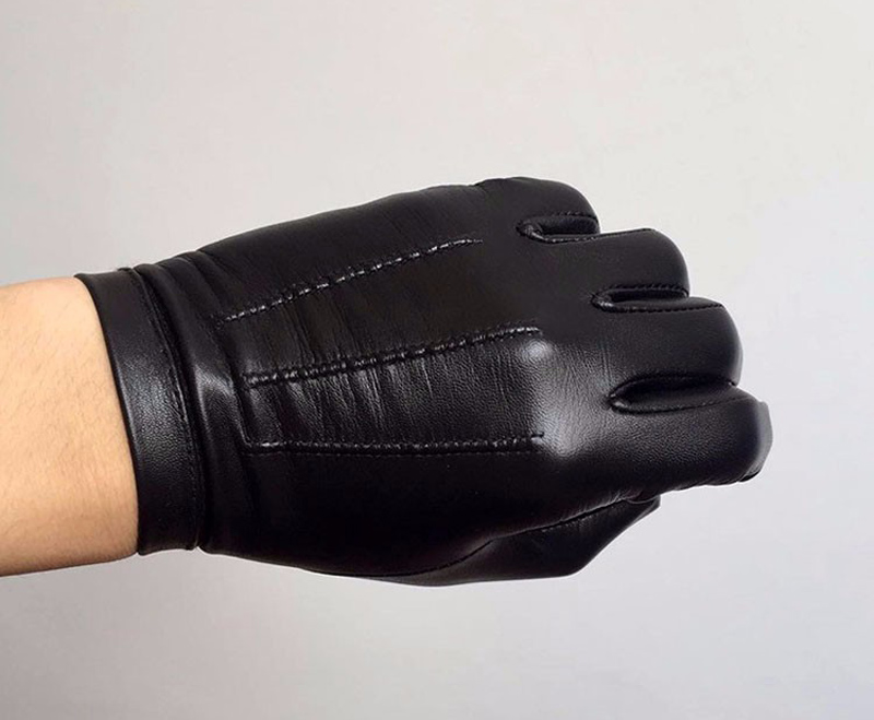 Calharmon hommes une pièce entière de cuir poignet bouton top gants en cuir noir - 5