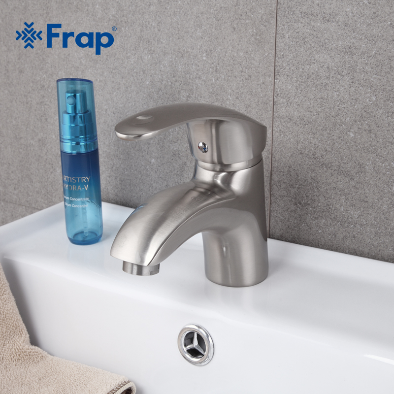 Frap New Arrival Deck Mounted Single Handle Basin Faucet Brushed Nickel Hot And Cold Water Mixer Taps F1021-5