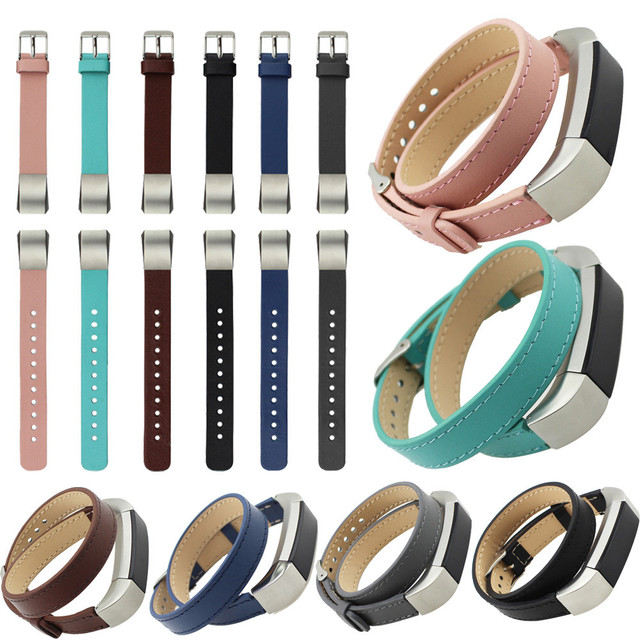 High Quality Black Watchbands Luxury Double Tour Genuine Leather Watch Band Strap Bracelet For Fitbit Alta Wrist Band Strap 2016