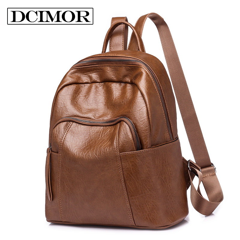 Dcimor Brand Leather Women Vintage Backpack Female School Bags For Teenagers Girls Top-handle Backpacks High Quality Mochila
