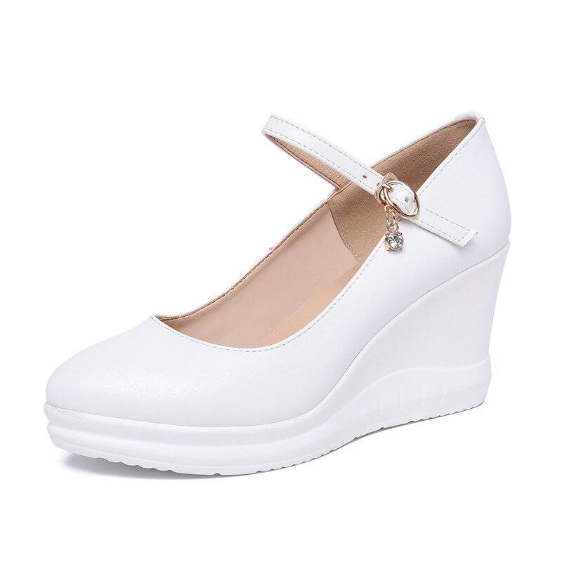 Chaussures Talons Confort De Femme Marque Pointu 3343 Travail Cuir Noir blanc Nouveau rouge 2019 Zxryxgs Véritable En Compensées Mode Taille lcTK1FJ