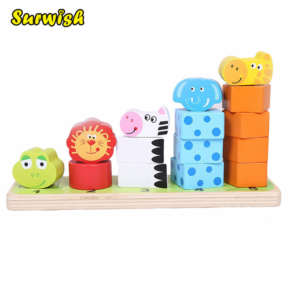 Surwish Cartoon Animal Stacking Wooden Counting Stacker Baby Kids Children Educational Toy push along walking toy wooden animal patterns funny kids children baby walker toys duckling dog cat development eduacational toy
