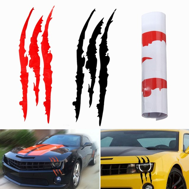 Universal red black scratch stripe headlight car truck suv vinyl decal sticker 40 x 12cm