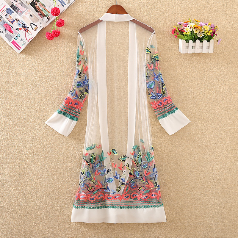 New Women Floral Embroidered Long Jacket Summer Net Cardigan Casual Long Sleeved Thin Coats Ladies Vintage New Women Floral Embroidered Long Jacket Summer Net Cardigan Casual Long Sleeved Thin Coats Ladies Vintage Beach White Outerwear