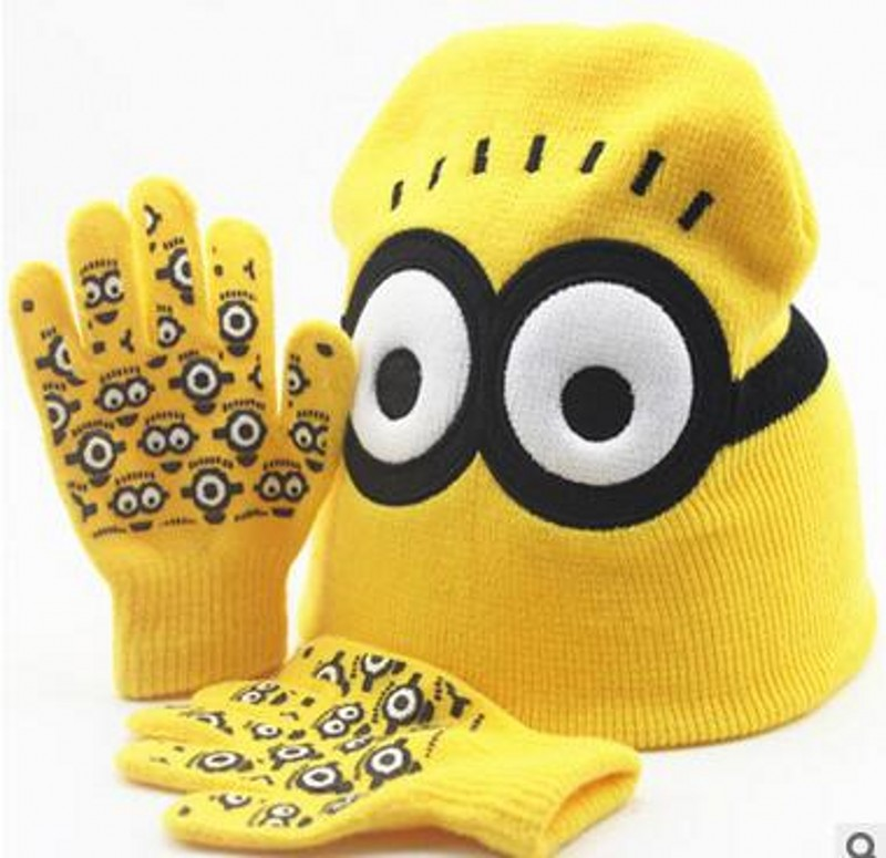 Yiwu Factory Fashion New Cute Autumn Winter Girls Boys Hat Set Cartoon Warm Cap knitted Hat Gloves Children Hat Sets simplicity wholesale 2pr set knitted touchscreen gloves