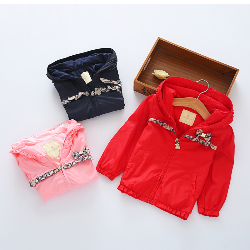 Vestidos Ruffles bow Autumn Fall Winter outdoors coat girls cotton warm coat pink Jacket girls clothes