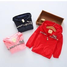 Свадебные платья Оборками лук Осень Зимой на открытом воздухе пальто девушки хлопок теплое пальто розовый Куртка девушки одежду 3 4 5 6 7 8 9 10 лет
