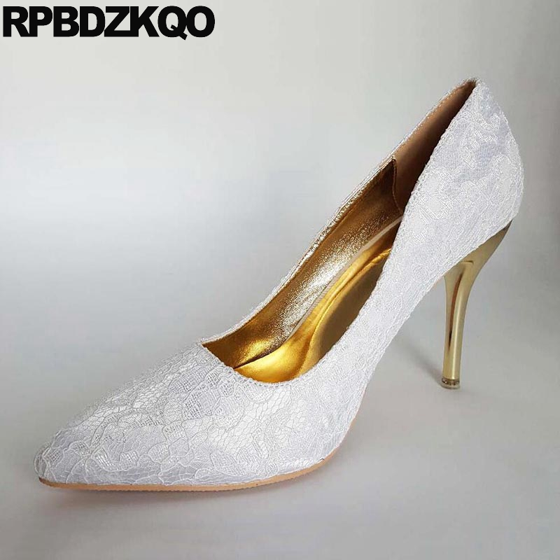 3 Inch Shoes 12 44 Medium Bridal Red Stiletto Heels Size 33 High Big Ladies Customized White Pumps Pointed Toe 4 34 13 45 Lace 4 34 small size gold shoes wedding pointed toe 7cm 3 inch satin high heels stiletto 33 flower pumps ladies colourful embroidery