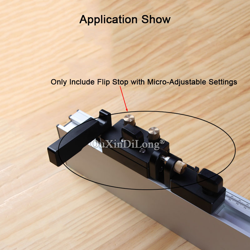 Купить с кэшбэком 1PCS Woodworking Flip Stop with Micro-Adjustable Settings for Miter Gauge Fence JF1728