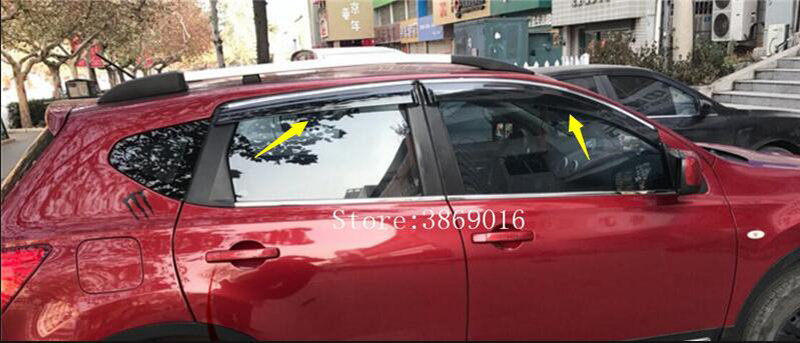 Fit pour Nissan Qashqai J10 acrylique fenêtre visière Vent nuances soleil pluie déflecteur garde auvents 2007 2008 2009 2010 2011 2012 2013