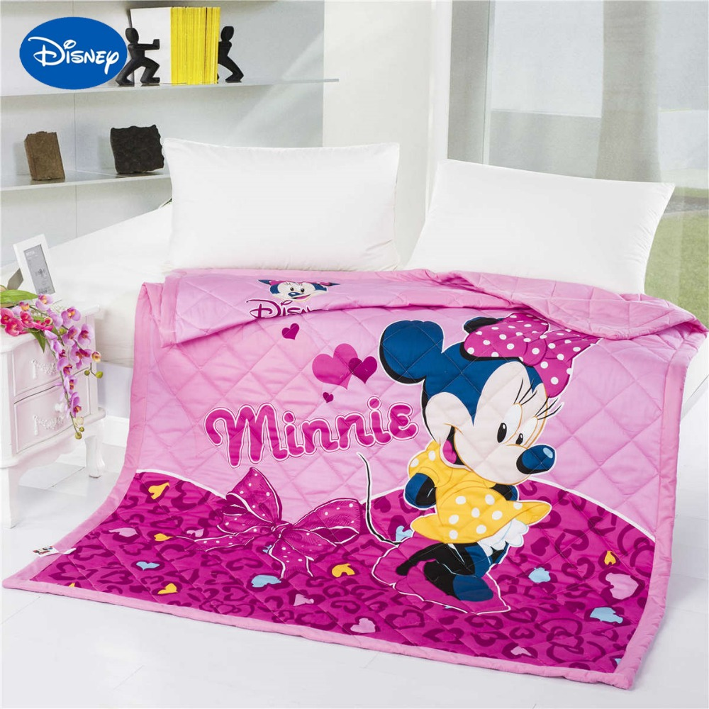 Disney Cartoon Minnie Mouse Print Quilts Comforter Bedding Cotton Cover 150*200cm 200*230cm Summer Girls Baby Bedroom Decor Pink