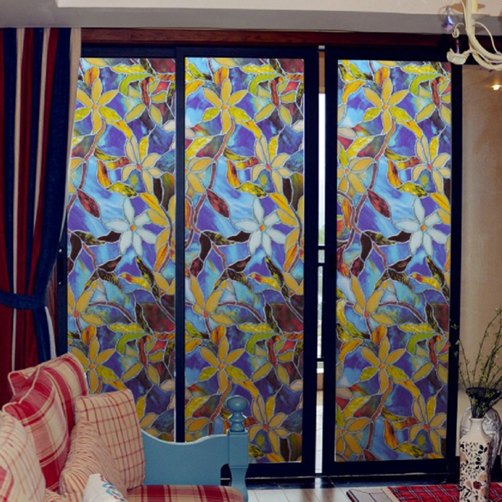 45x100cm Magnolia Privacy Window Film Décoratif Vitrail Fenêtre Film Stained Glass Film Fenêtre Autocollant Décor À La Maison