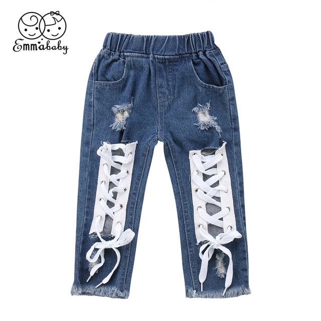 Fashion Kids Baby Boy Girl Bandage Denim Long Pants Ripped Jeans Casual Trousers 1-6Y Toddler Clothes