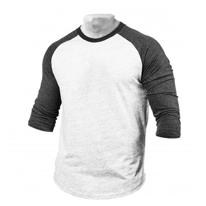 Muscleguys Brand T-Shirt Men Autumn Fitness Raglan Seven Quarter Sleeve T Shirt Men Extra Long Streetwear Slim Fit Tee Shirt