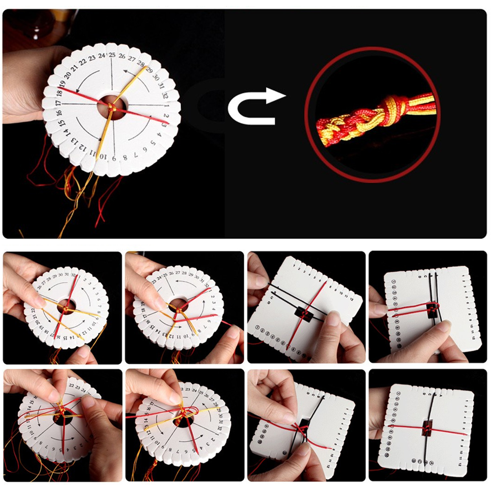 2Pcs Round Square Disc Macrame Braided Cord String Bracelet Handmade Weaving Disk Plate DIY Loom Materials Sewing Tools