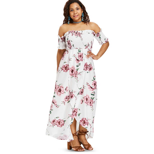 2072e9ffbb5c Wipalo Plus Size Flower Empire Waist Maxi Dress Asymmetrical Tulip Off  Shoulder Floor-Length Bohemian