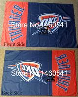 Oklahoma City Thunder Wordmark Flag 3ft X 5ft Polyester NBA Oklahoma City Thunder Banner Flying Size