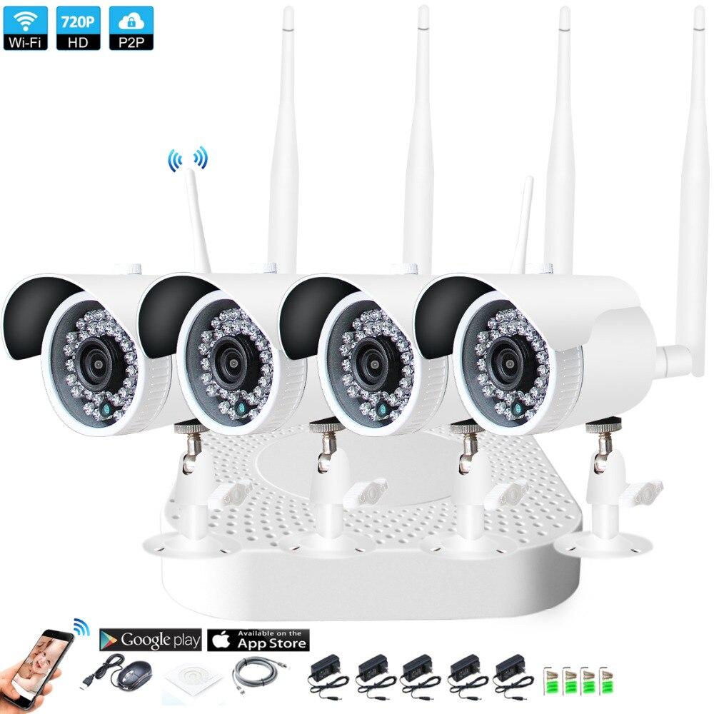Plug and Play 4CH 1080 p HD Wireless NVR Kit P2P 720 p Indoor Outdoor Visione Notturna di IR di Sicurezza 1.0MP IP WIFI Della Macchina Fotografica di Sistema CCTV