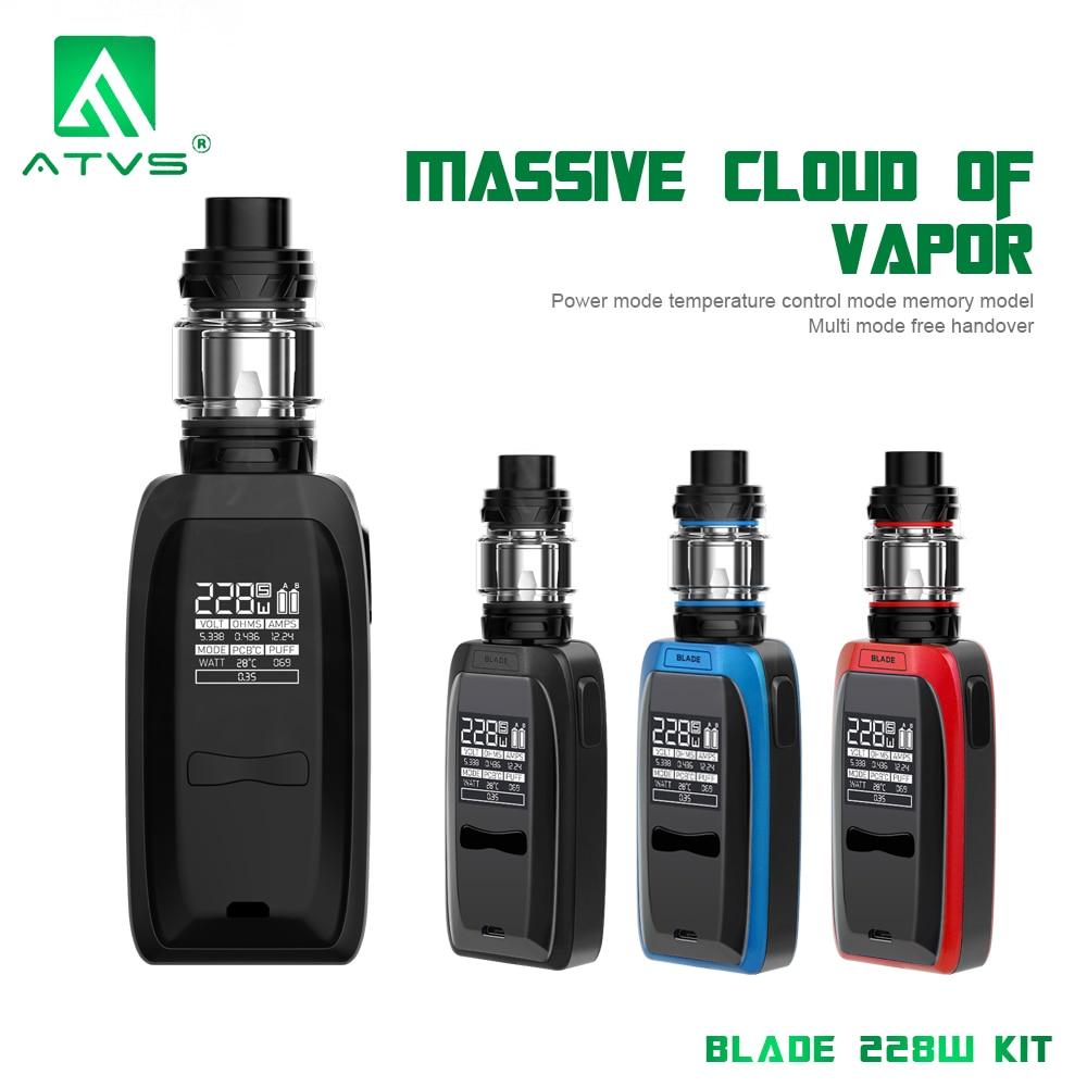 ATVS Blade 228W Vape Mod Kit Electronic Cigarette VW TC Box Mod 5ml Top Fill SR 11 Atomizer Tank Vaper Vaporizer E Cigarettes