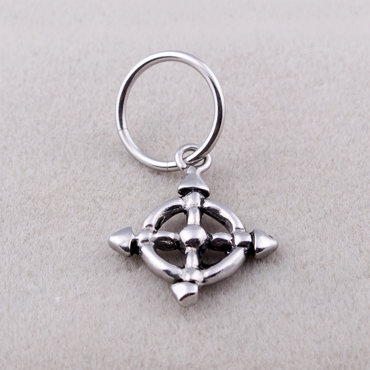 Fashion Anchor Rudder Earrings Silver Plated Stainless Steel Anchor Charm Round Hoop Huggie Earrings Jewelry For Men Women Gift