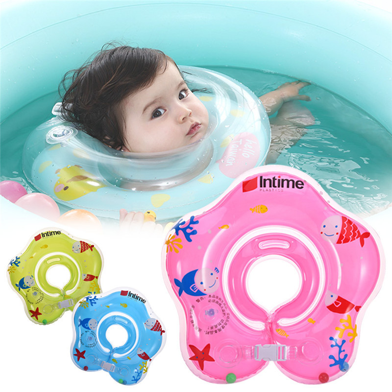 Swimming Baby Newborn Neck Ring Circle Inflatable Kids Child Float Floating Pool Water Bath Swim Rings