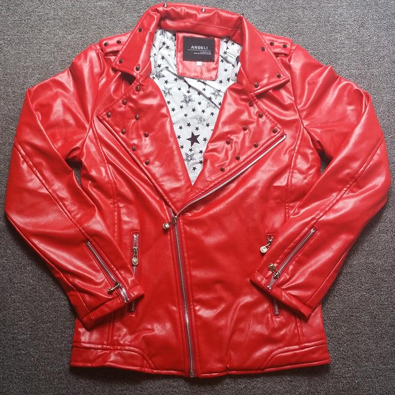 부드러운 PU 멋진 패션 리벳 박힌 바이커 자켓 남성 오토바이 락 펑크 가죽 자켓 남자 레드 화이트 블랙