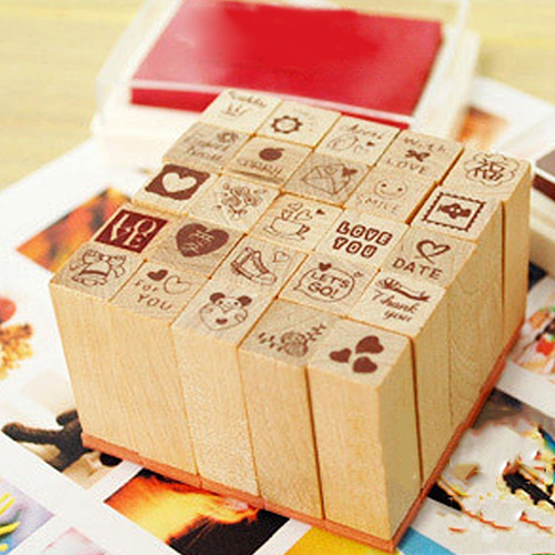 25Pcs Love Diary Decorated Wood Stamps Set Stampers School Supplies Stationery newest 6pcs set 6 colors 6 styles cute teachers stampers inking praise reward stamps motivation sticker school dig6429