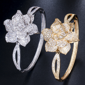 Image 3 - CWWZircons Yellow Gold Color Heart Shape Flower Bridal Wedding Party CZ Bangle Bracelets and Rings Sets for Brides Jewelry T193