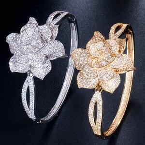 Image 3 - Cwwzircons cor de ouro amarelo coração forma flor nupcial casamento festa cz pulseira pulseiras e anéis conjuntos para noivas jóias t193