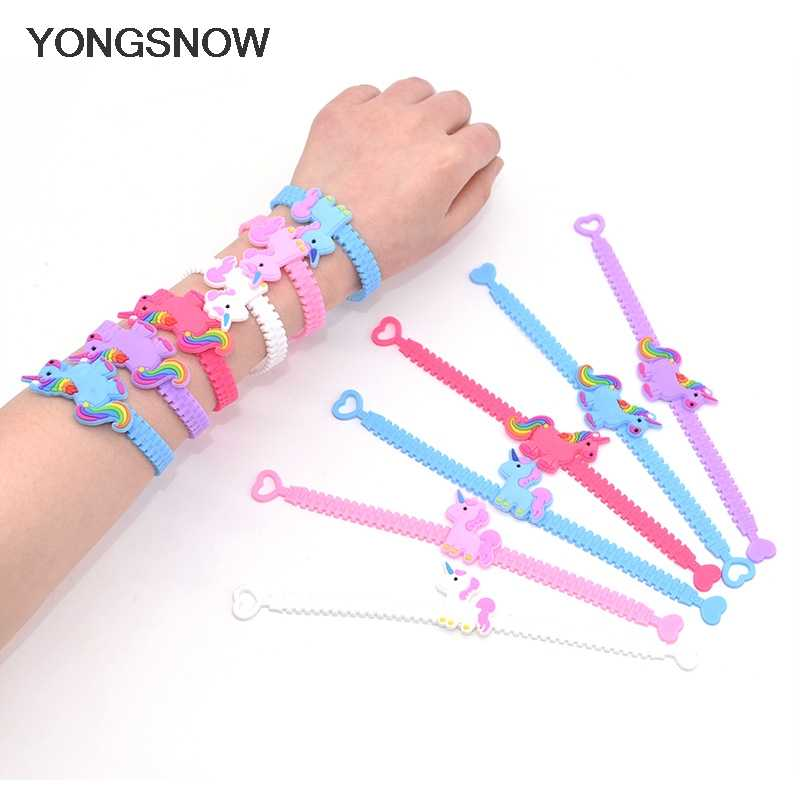 5pcs/lot Fashion Animal Unicorn Bracelet Silicone Wristband Flexible Wrap Slap Bracelet Wedding Birthday Kids Party Gift Favors