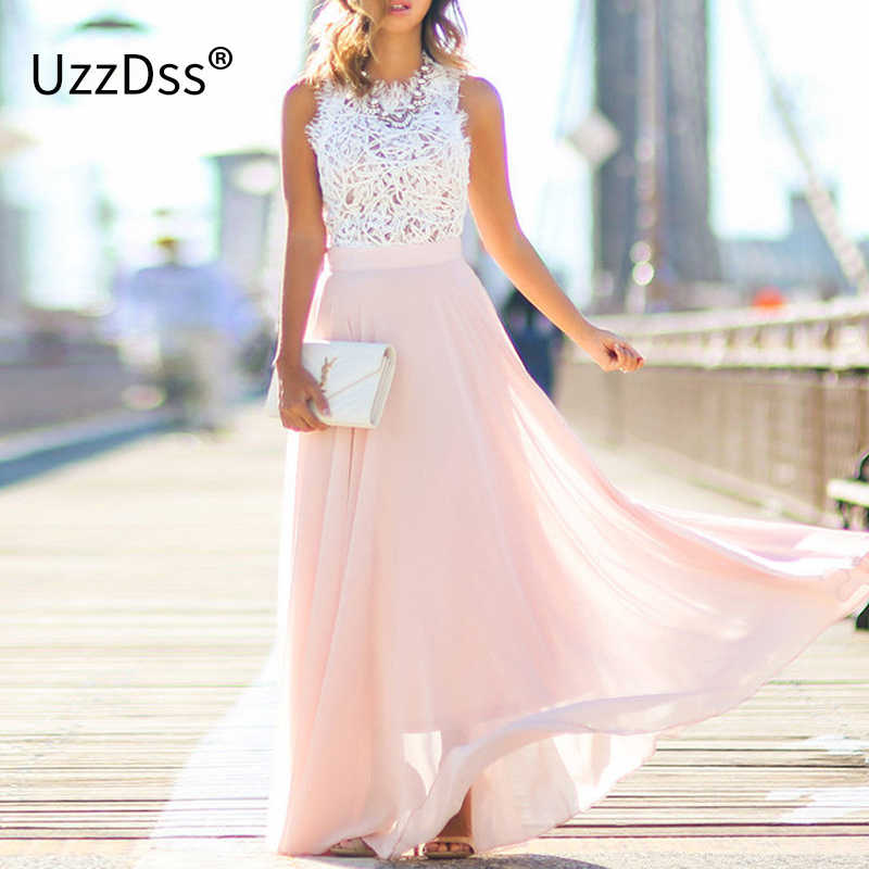 UZZDSS New Arrival 2019 Sring Evening Party Hollow Out Beach Dress Womens Boho Sleeveless Maxi Dress Party dresses Dropshipping