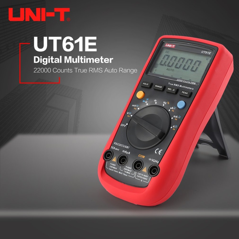UNI-T UT61E 22000 Counts Digital Multimeter with Auto Range True RMS DC/AC Voltage Current Ohm Capacitance Diode RS-232 uni t ut61e 22000 counts true rms digital multimeter ac dc voltage current resistance capacitance tester with rs232c cable