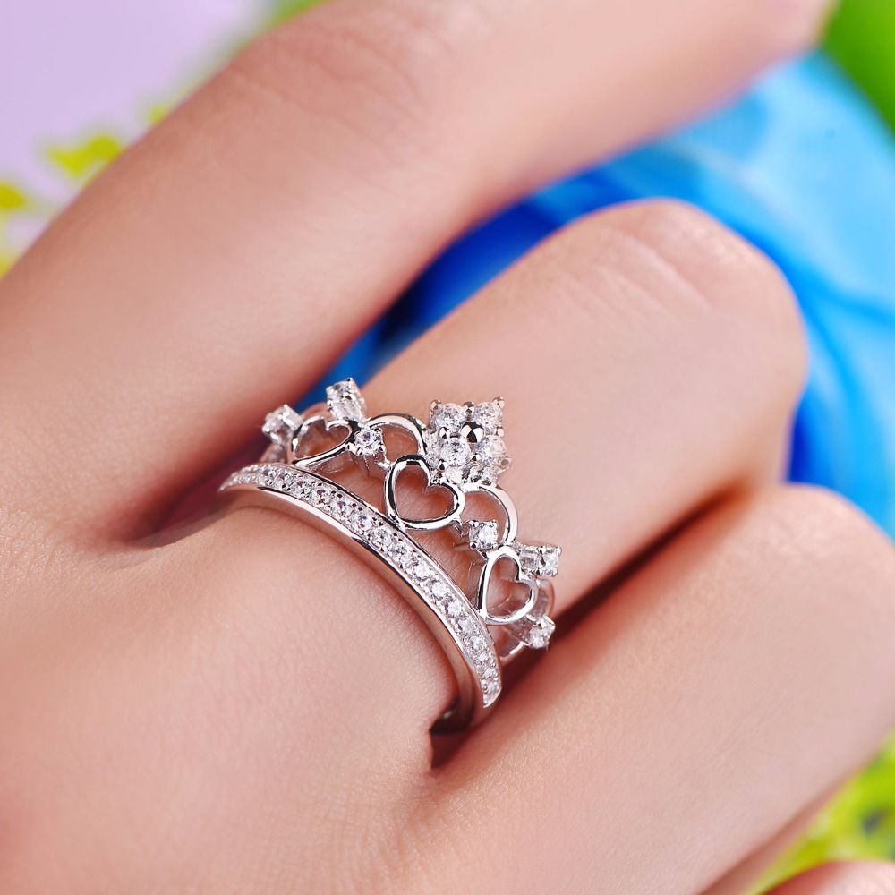 YL Crown 925 Sterling Silver Heart Ring for Women Love Wedding Band ...