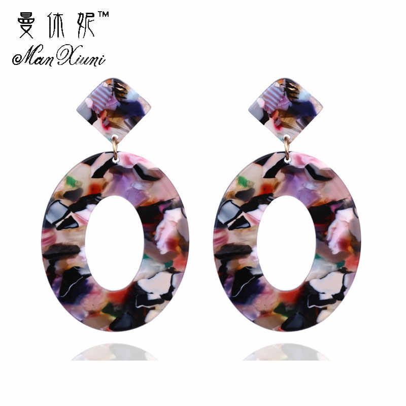 Manxiuni Fashion Trend Acrylic Resin Oval Dangle Earrings For Women Geometry Big Circle Tortoiseshell Earrings Acetate Brincos
