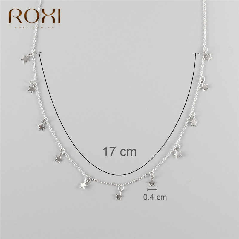 ROXI bohème minuscule étoile femmes collier ras du cou femme argent couleur courte chaîne collier réel 925 en argent Sterling collier bijoux