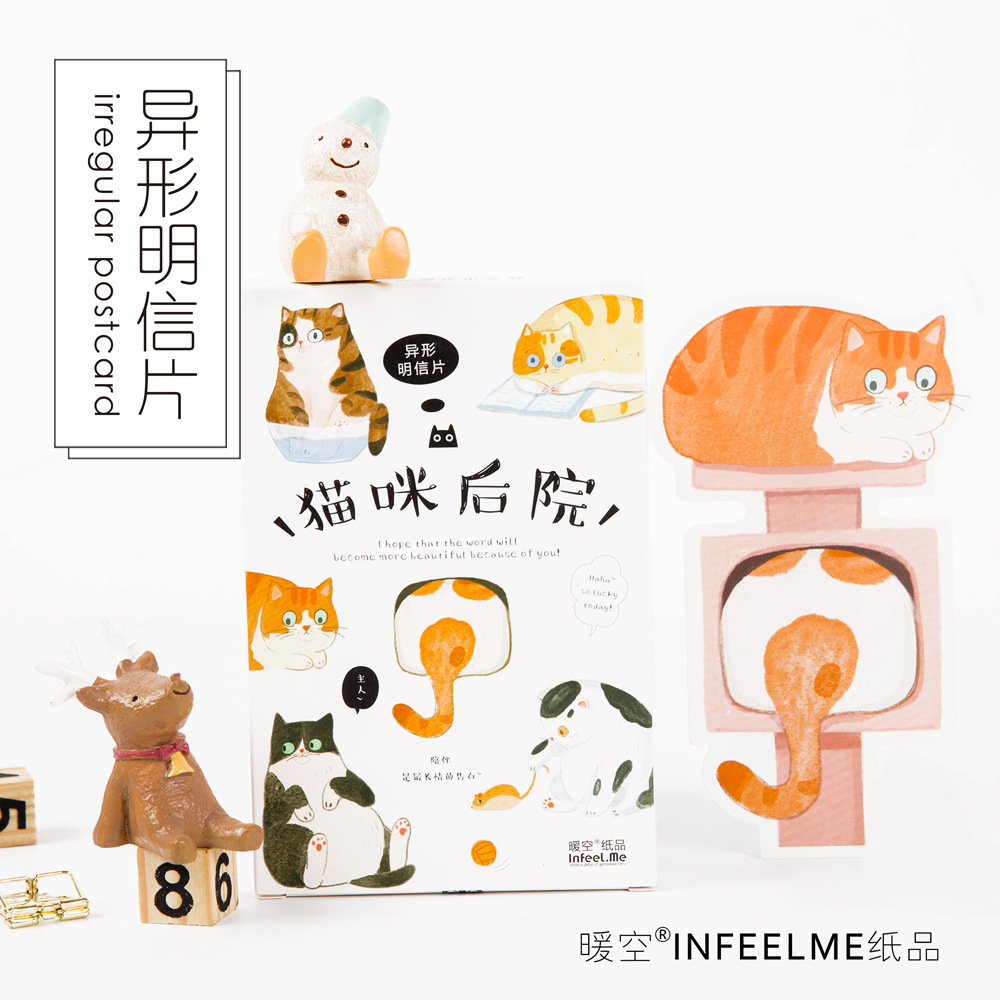 30 Sheets/LOT Heteromorphism Cute Lazy Cat Postcard /Greeting Card/Wish Card/Christmas And New Year Gifts