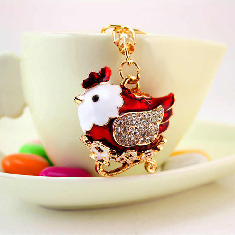 Chaveiros De Cristal bonito da Galinha da galinha Galo Saco Carro Pingente Llaveros chaveiros anel Chave Animal de Presente da Jóia Para As Mulheres d1440