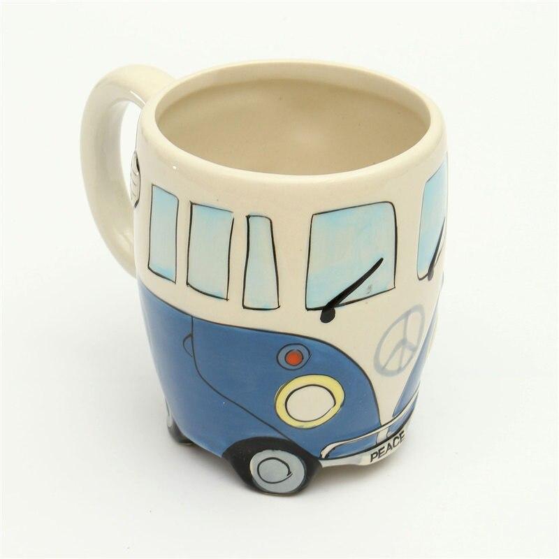 YKPUII Carino Tazze In Ceramica Dipinto A Mano Retro Double Decker Bus Tazza di Caffè Latte Tazza di Tè Bottiglia di Acqua Drinkware Regalo