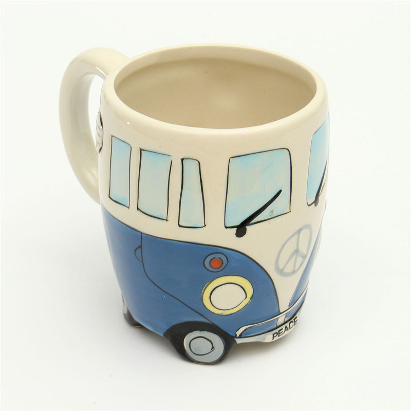 YKPUII Cute Ceramic Cups Hand Painting Retro Double Decker Bus Mug Coffee Milk Tea Cup Water Bottle Drinkware Gift