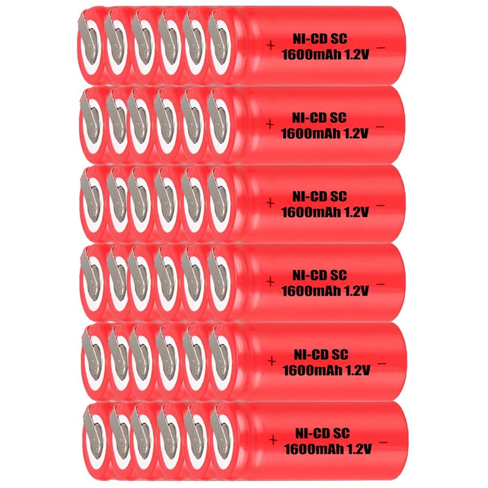 Prix le plus bas 36 pièces SC batterie 1.2 v batteries rechargeables 1600 mAh nicd batterie pour outils électriques akkumulator