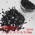 24000 pcs preto Mixed tamanhos 2 mm - 6 mm Glitter resina strass Flatback contas vara de cola 3D Nail Art DIY decoração