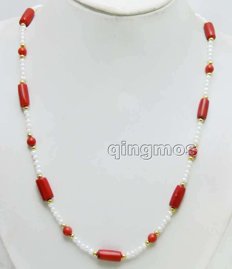 4-5mm White Round Natural Pearl and 6-7mm Red Coral & 10-11mm Thick Slice Coral 30'' necklace-nec6432 Wholesale/retail Free ship