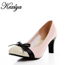 Size 31-43 New Spring Mixed Colors PU leather women's shoes sexy Bowtie decoration high heels customize small / big yards HH-892