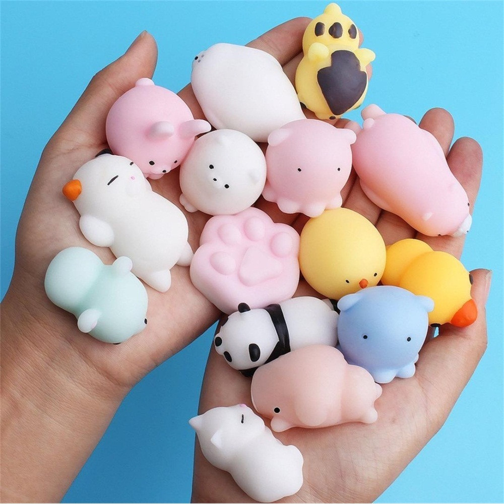 25pcs/pack Squishy Squeeze Mochi Cat Koala Antistress Squishes Shark Squishies Animals Set Anti Stress Funny Toys For Children