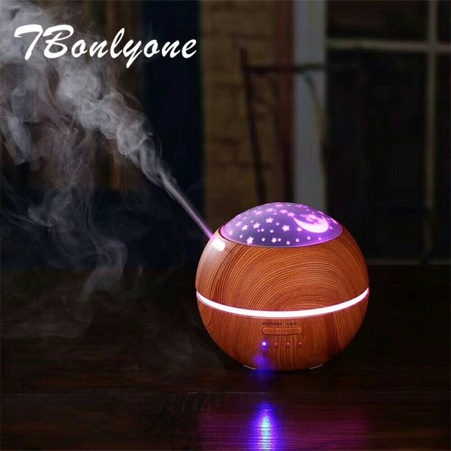 TBonlyone 150ML Projector Electric Diffuser Aroma Lamp Wood Grain Ultrasonic Aroma Air Humidifier Essential Oil Aroma Diffuser